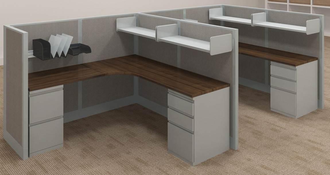 Images of L Shaped Cubicle Desk with Curved Corner Desktop