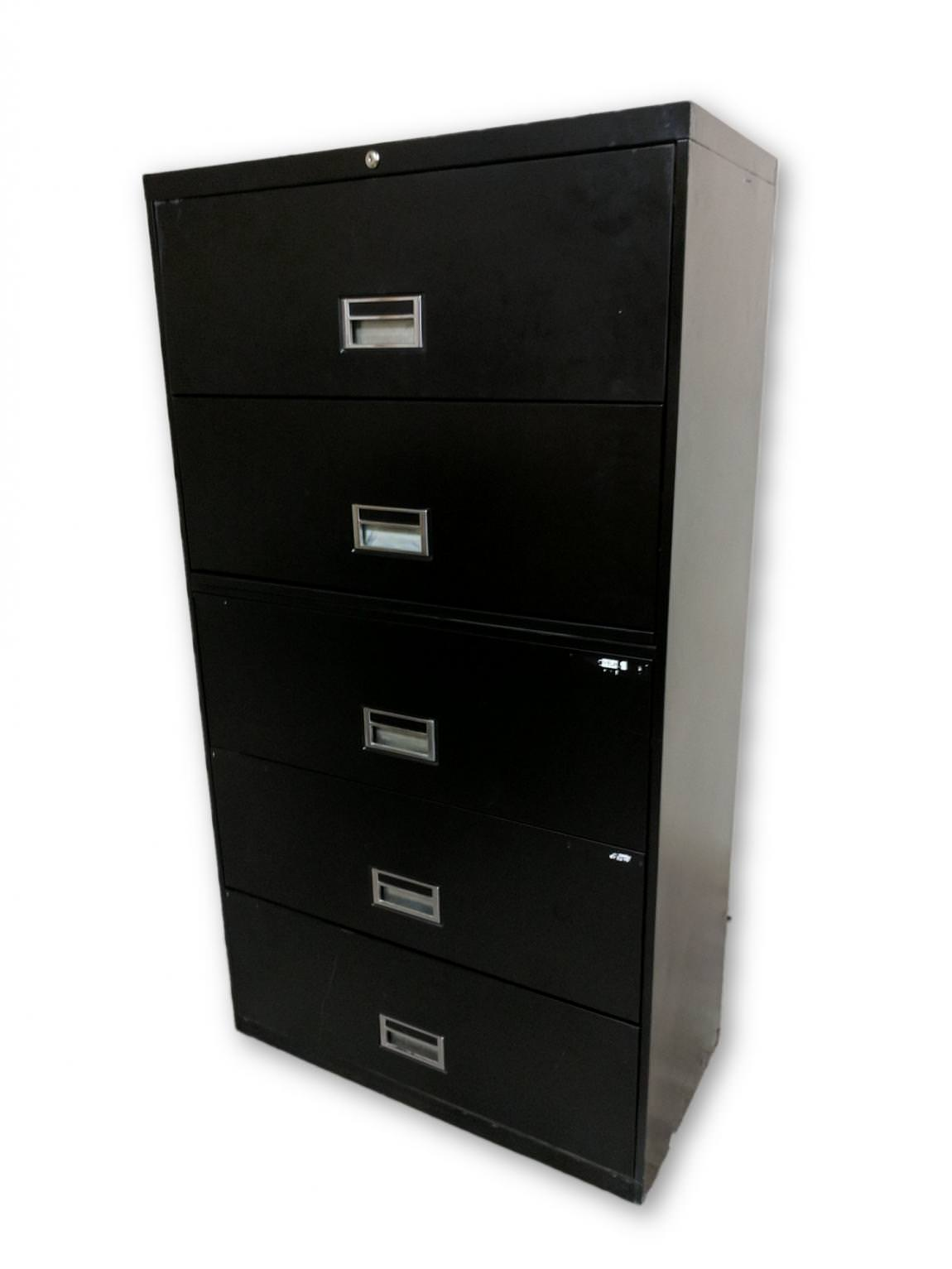 Images of Black 5 Drawer Lateral File Cabinet