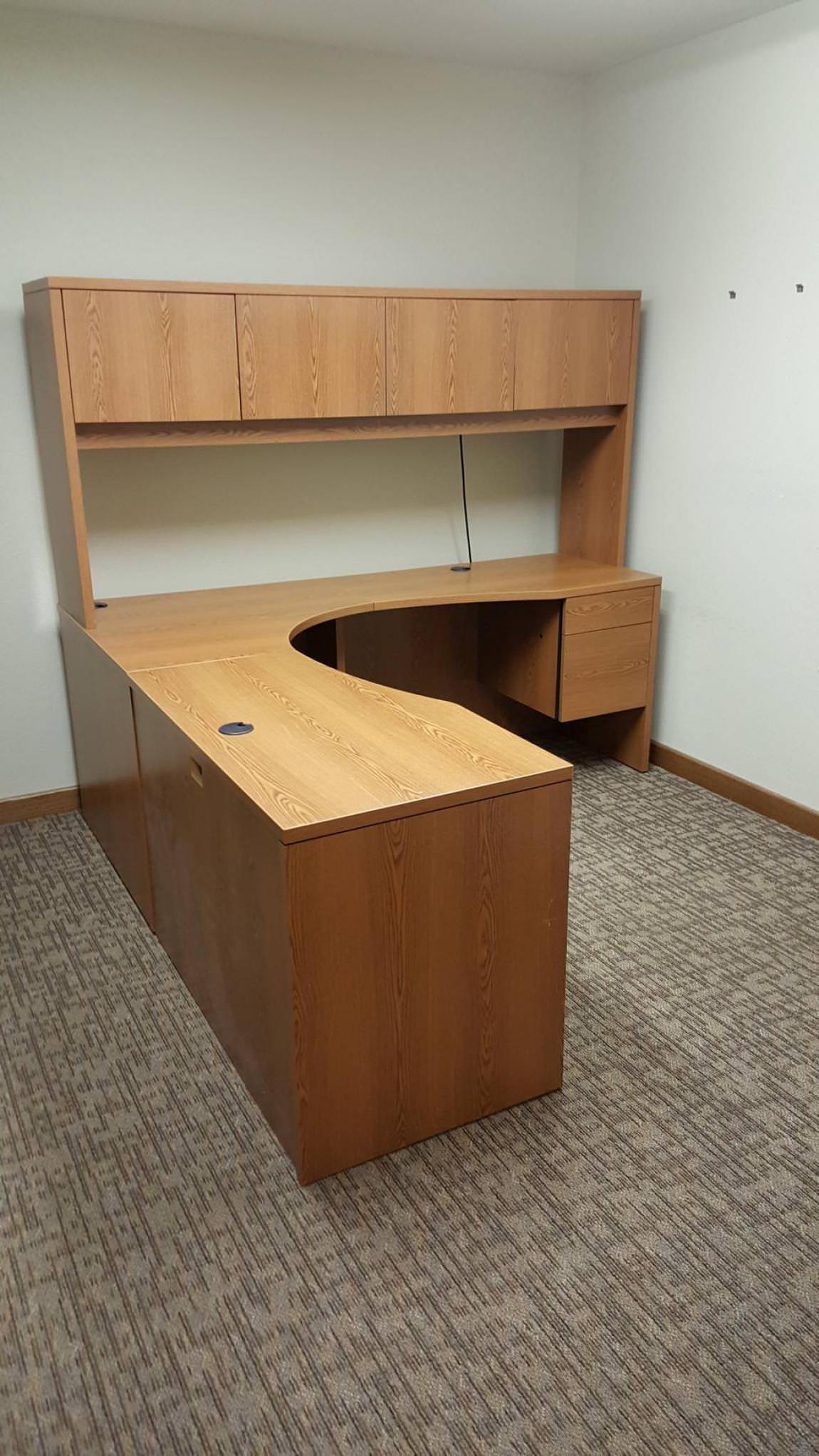 Images of HON Corner Desk with Hanging Drawers and Hutch