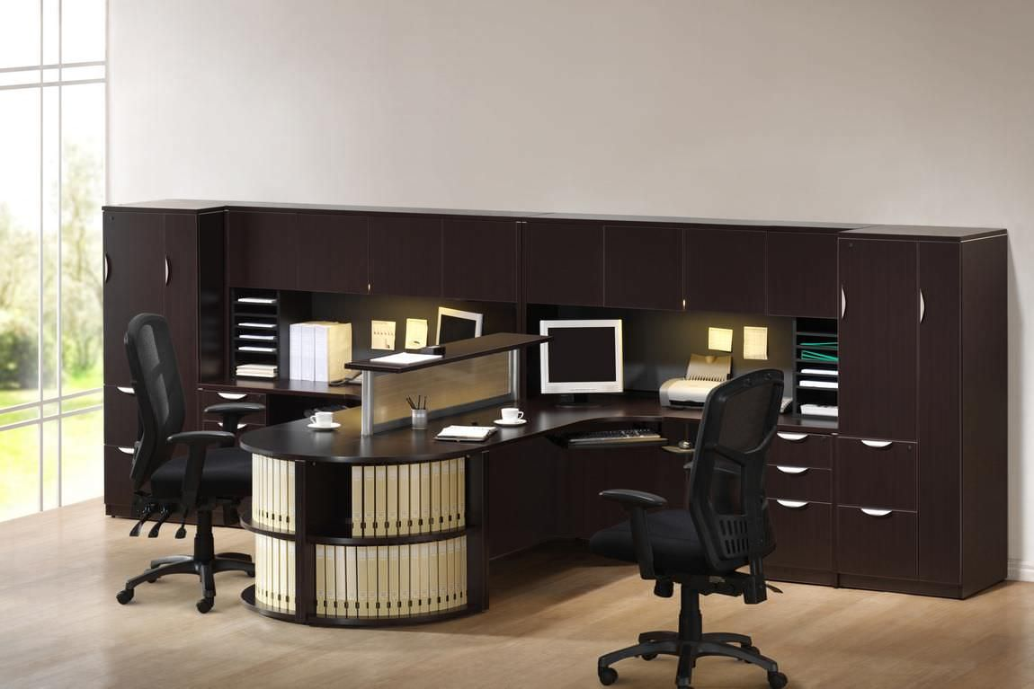 Images of 2 Person T Shaped Executive Desk with Hutch and