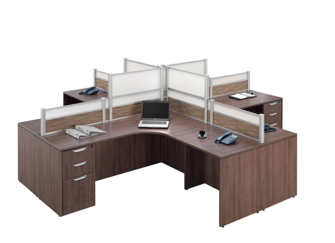 Images of Modern Walnut 4 Person Desk Pod Whiteboard