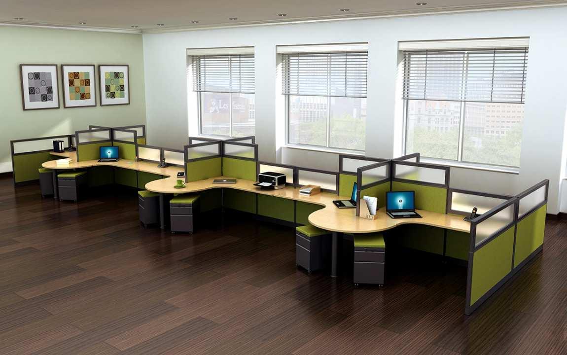 12 Person Modular Cubicle Desk System  Madison Liquidators
