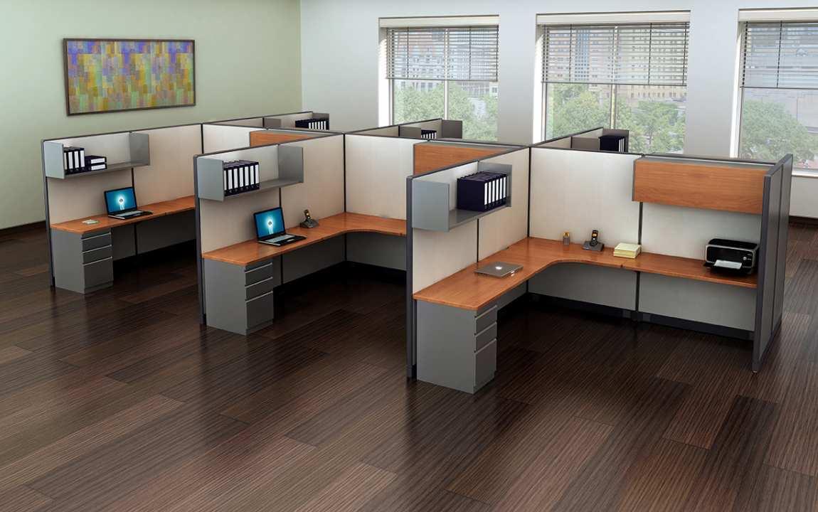 L Shape Cubicle Desk Workstation With Storage  Madison