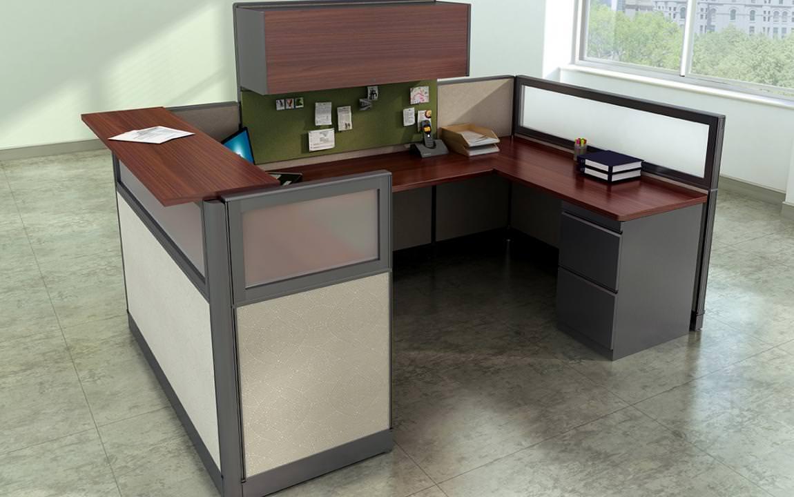 High End Receptionist Cubicle Desk Workstation  Madison