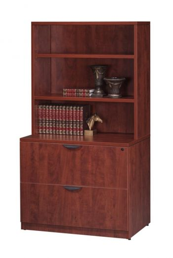 Two Drawer Locking Lateral File with Hutch Book Shelf