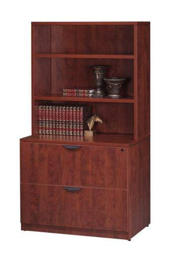 Two Drawer Locking Lateral File with Overhead Hutch Book Shelf