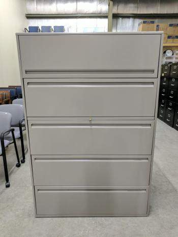 Haworth 5 Drawer Gray Lateral File Cabinet  42 Inch Wide