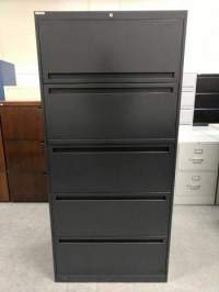 Charcoal 5 Drawer Lateral File Cabinet  30 Inch Wide