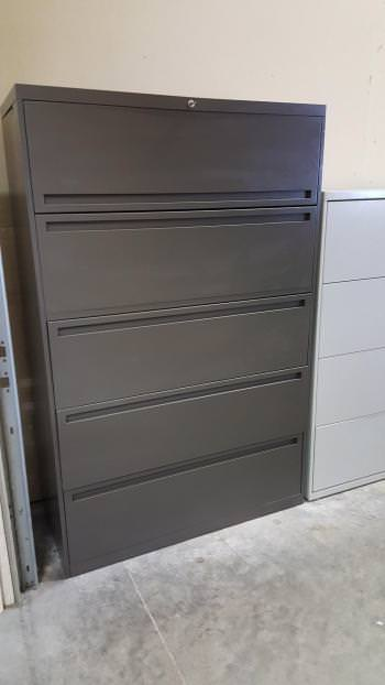 Five Drawer AllSteel Dark Gray Lateral File Cabinet