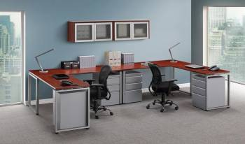 2 Person Office Desk with Drawers and Overhead Storage