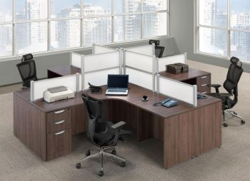 4 Person L Shaped Desk Pod with Privacy Panels  Madison