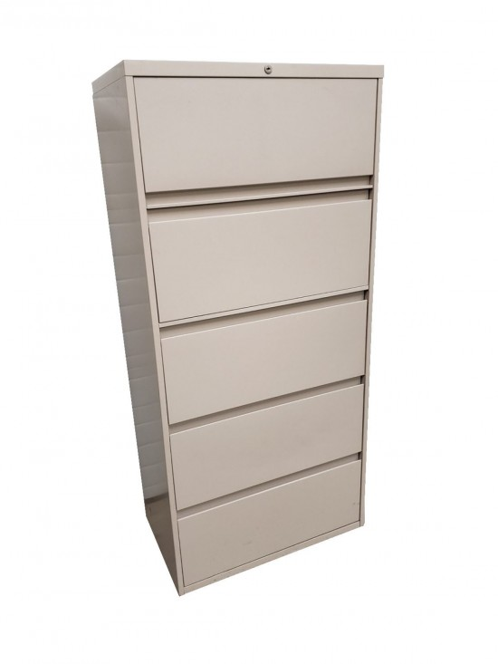Steelcase Putty 5 Drawer Lateral Filing Cabinets  30 Inch