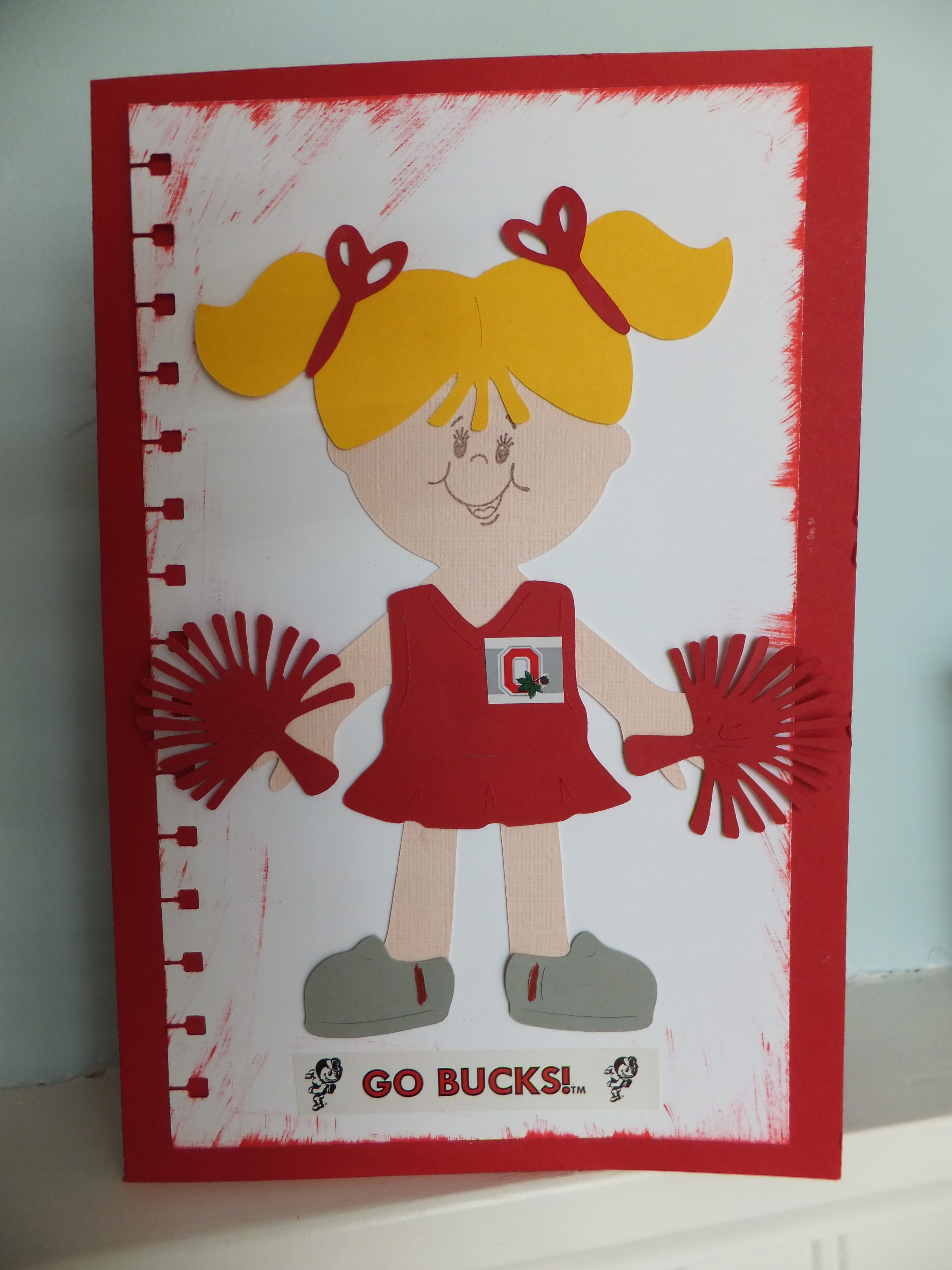Ohio State Cheerleader Card made with the Cricut  madisonzanecreations