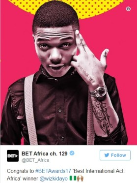 "Wizkid Wins 2017 BET ""Best International Act Africa"" Award 2"