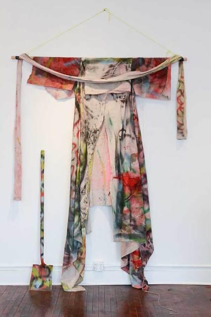 Dirt Boy's Cloak & Tools, house paint & spray paint on drop cloth and shovel, 2016
