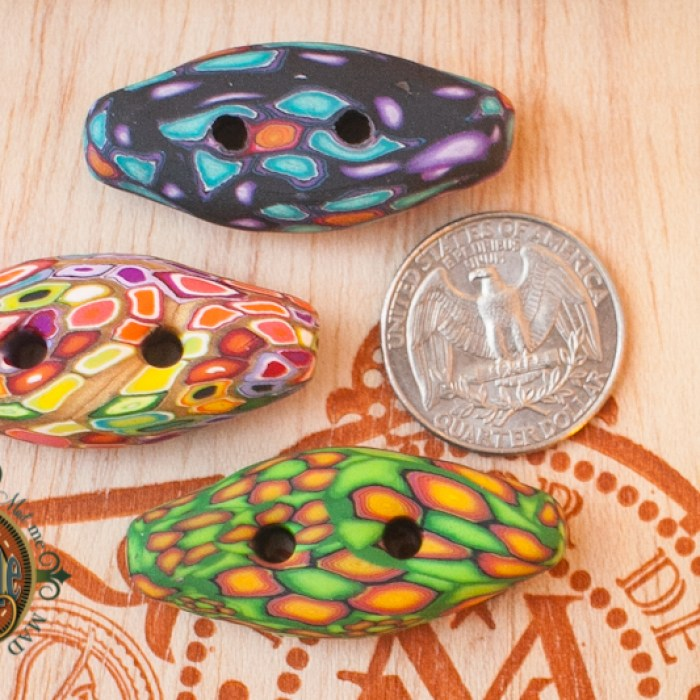 polymer clay toggle buttons