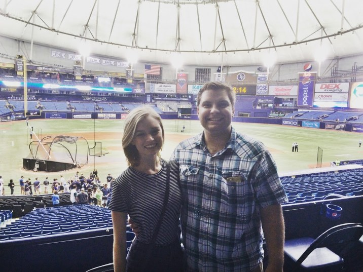 My husband and I at a Tampa Bay Rays game