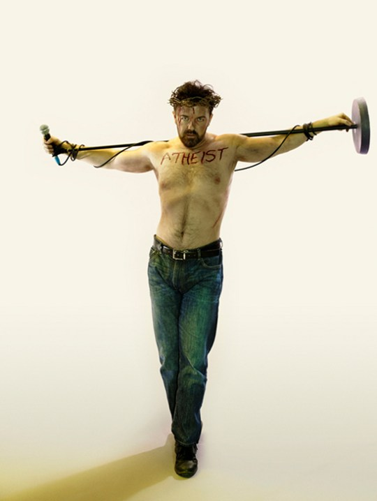 ricky gervais atheist pose as christ rolling stone cover reject