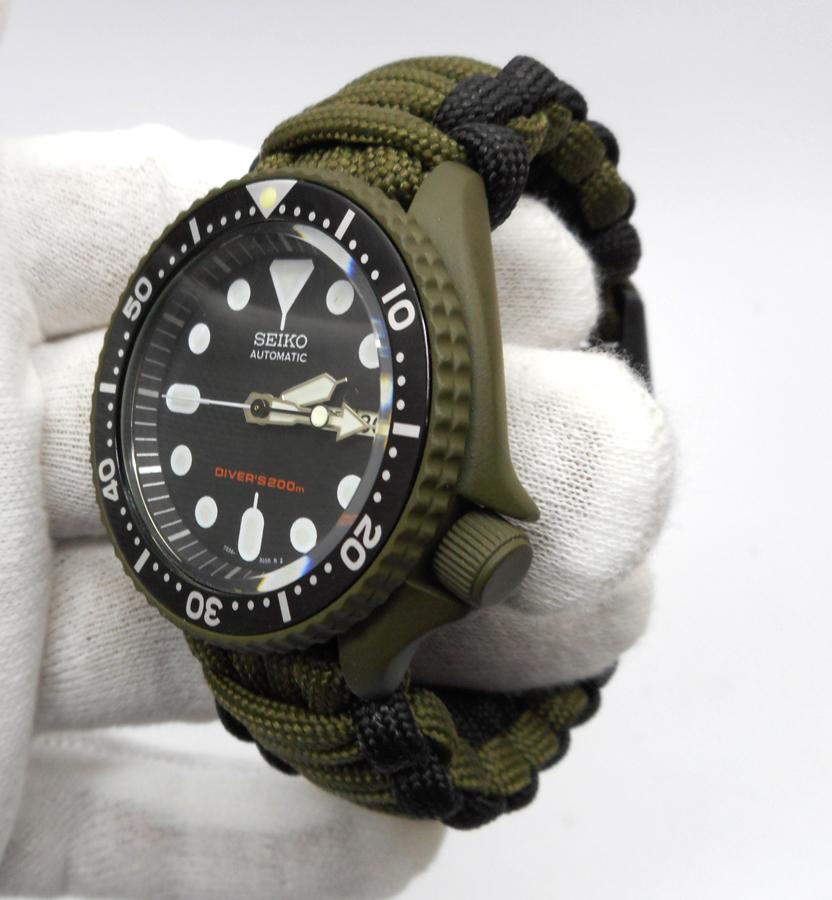 PRE-SALE Seiko MOD 7S26 SKX007 OD Green Cerakote military free paracord  strap