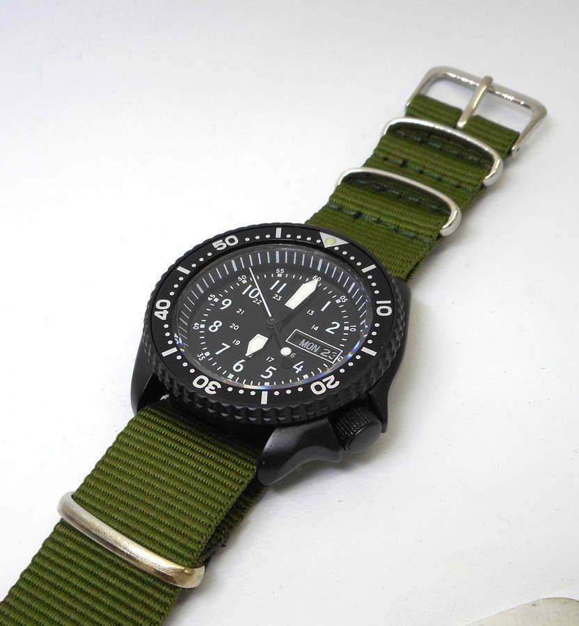 PRE-SALE SKX007 7S26 Black Cerakote 24 HR Military Dial Seiko Divers Watch
