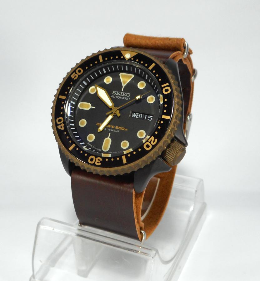 pre sale seiko mod 7s26 black burnt bronze cerakote patina dial ploprof dial