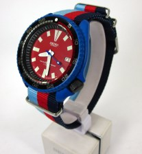 available now - 7002 - red dial - rally bezel inserty - blue cerakote - custom racing strap - USD 149