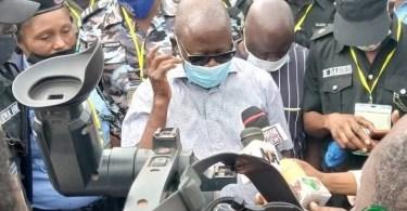 Photos as Oshiomhole votes in Iyamho, blasts INEC for failed card readers