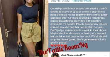Few days after claiming she is broke, Nigerian lady commits suicide