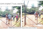 Fungai Jani (topless) outside Kingston Deshe's place of residence
