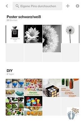 Screenshot von Pinnwänden in der Pinterest®-App