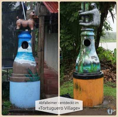 etwas andere Abfalleimer beim Rundgang im «Tortuguero Village» entdeckt {Reisetagebuch Costa Rica: Tag 19}