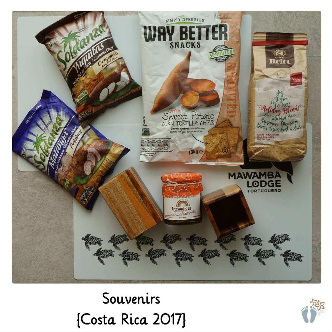 Souvenirs: Süßkartoffel-, Yuguitas-, Malanga-Chips; Kaffeebohnen; Ananas-Marmelade; Stifteköcher aus Holz; Tischsets {Costa Rica 2017}