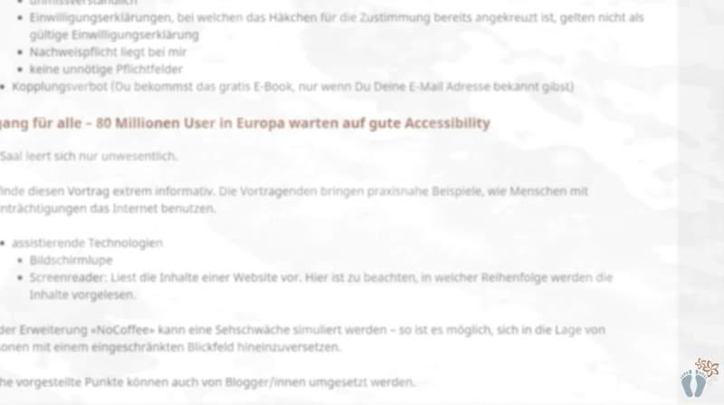 WordCamp Vienna 2018: Aus der Perspektive einer Reise-Bloggerin: Screenshot des Blogbeitrages mit Simulation einer Linsentrübung