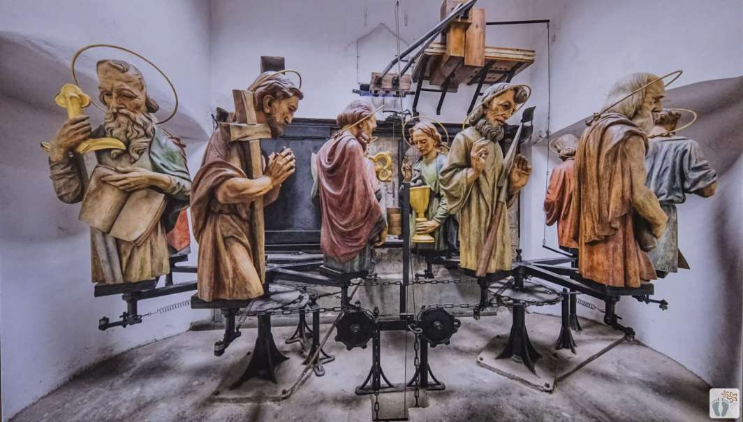 die 12 Apostel der «astronomischen Uhr» im Turm des «Altstädter Rathaus» werden gerade renoviert {Reisetagebuch Prag}