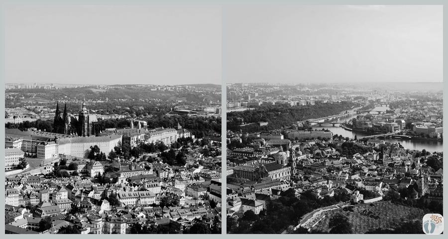 «Prag» aus der Vogelperspektive - vom Aussichtsturm am «Petřín-Hügel» | schwarz-weiß Fotografie {Reisetagebuch Prag}