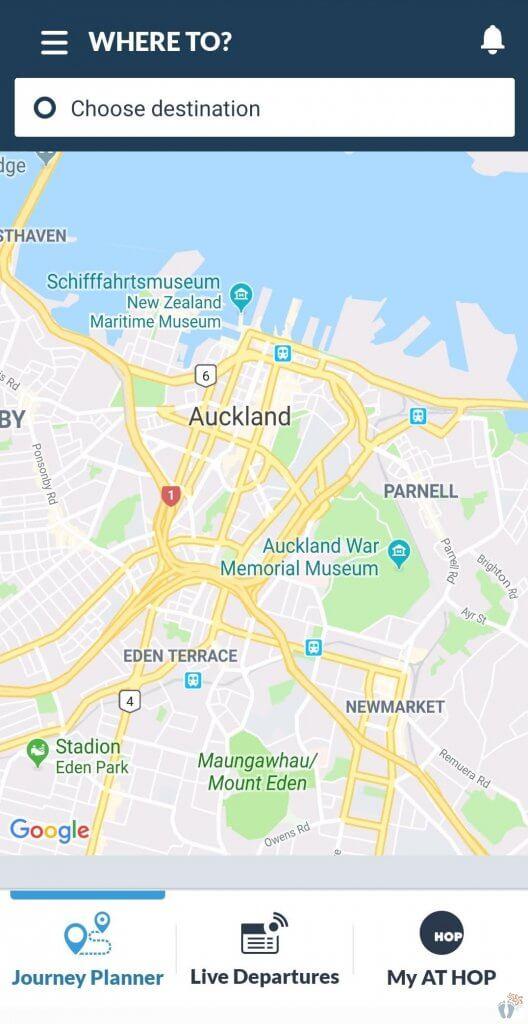 "Linksammlung für Neuseeland: Screenshot der App ""AT Mobile"""