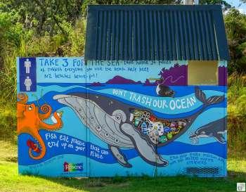 Little Bay: Street-Art an einer Toilette {Reisetagebuch «Roadtrip durch Neuseeland mit dem Bus»: Northern Coromandel}
