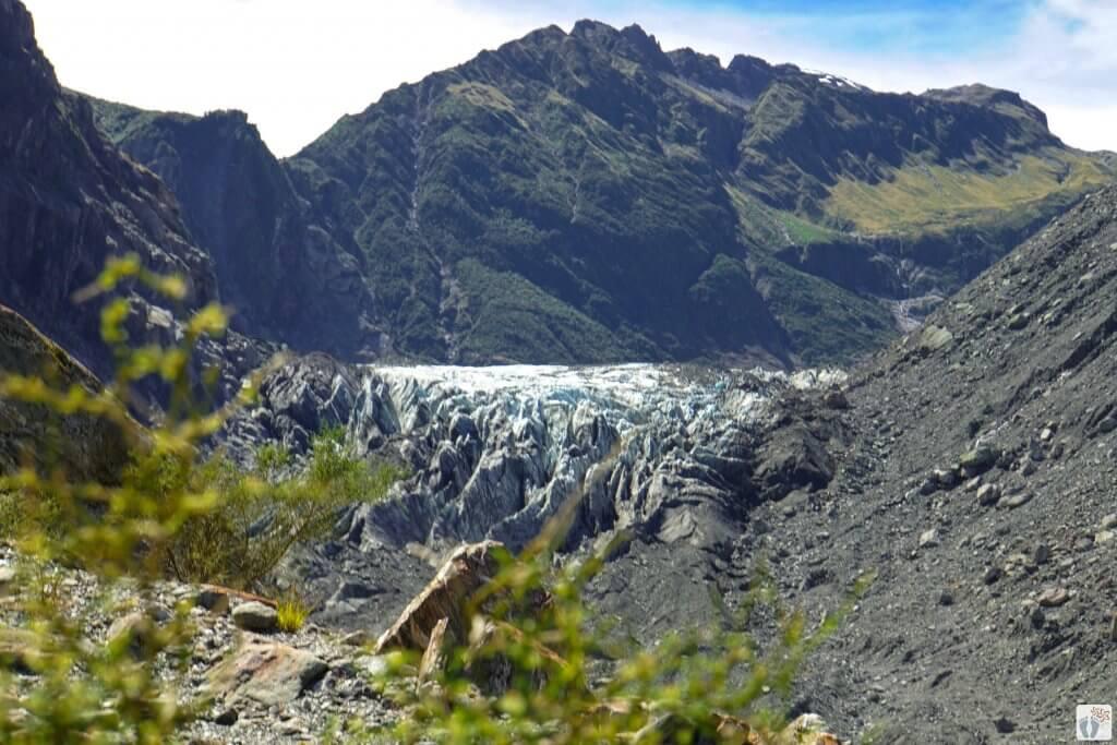 Blick auf den «Fox Glacier» {Südinsel - «Roadtrip durch Neuseeland mit dem Bus»}