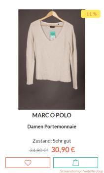 Secondhand-Kleidung online bestellen_falsche Produktbeschreibung_Screenshot von Website ubup