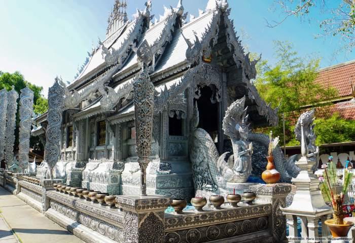 Wat Sri Suphan (silberner Tempel) in Chiang Mai: Außenansicht (Reisetagebuch «Thailand als Alleinreisende ohne Roller entdecken»)