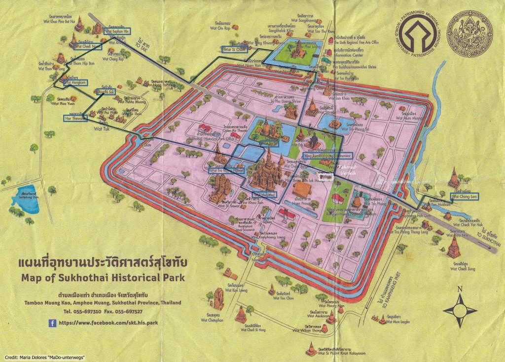 Karte mit Route der besuchten Tempel - Sukhothai Historical Park_Thailand (Reisetagebuch «Thailand als Alleinreisende ohne Roller entdecken»)