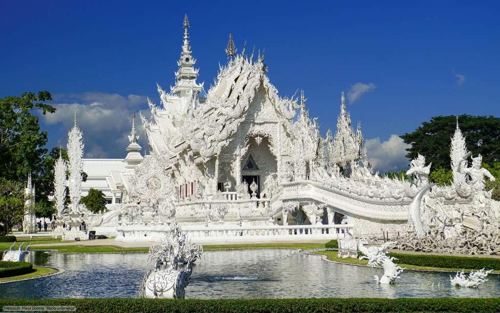 Wat Rong Khun (Weißer Tempel) in Chiang Rai - Ubosot (Reisetagebuch «Thailand als Alleinreisende ohne Roller entdecken»)