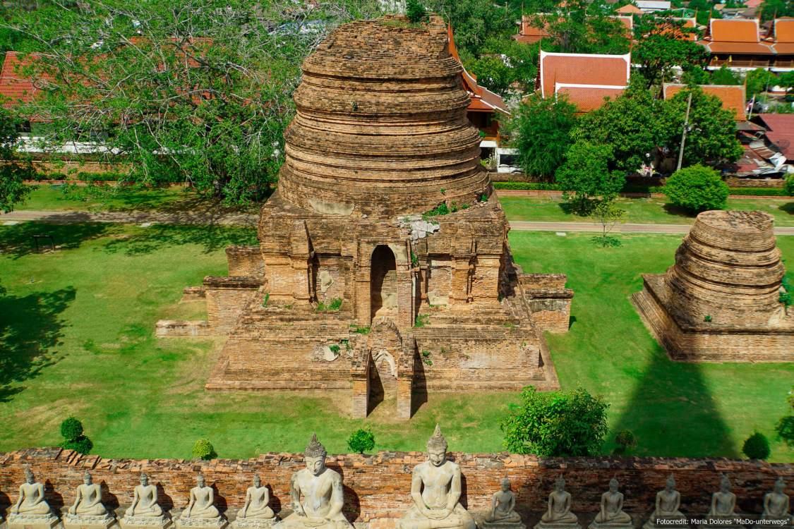 Wat Yai Chai Mongkon in Ayutthaya - Blick vom Chedi (Reisetagebuch «Thailand als Alleinreisende ohne Roller entdecken»)