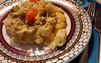Kartoffelmos med gulerod og sød kartoffel.