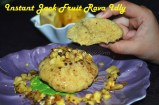 Jack fruit rava idly topped with minced jack fruit and powdered palm sugar
