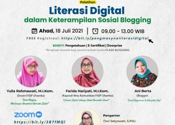 Pelatihan Literasi Digital dalam Keterampilan Sosial Blogging secara daring melalui layanan konferensi video Zoom Meeting, Minggu (18/07/2021) mendatang, pukul 09.00 – 13.00 WIB.