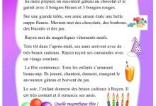 Photo of texte : l'anniversaire de Rayen