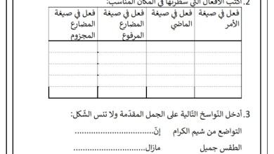 Photo of تقييم عدد 2 السداسي الثاني في قواعد اللغة السنة الرابعة