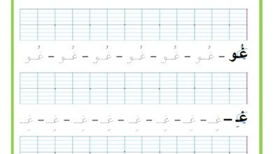 Photo of المراجعة اليومية للحروف ( ملف رقم 25 ) : حرف الغين – تمارين خط