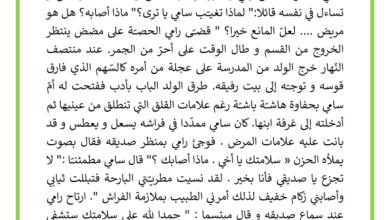 Photo of انتاج كتابي المقعد الشاغر الموضوع زيارة الصديق المريض و مساعدته